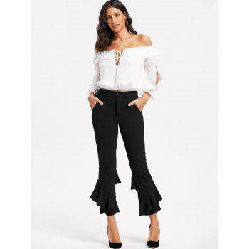 Layered Cropped Flare Pants - S S