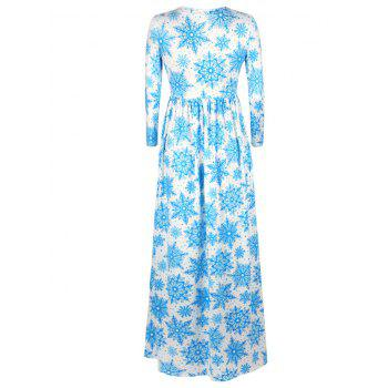 Christmas Snowflake Print Maxi Dress - LIGHT BLUE S