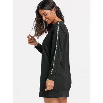 Letter Print Mini Sweatshirt Dress - BLACK L
