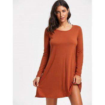 Long Sleeve Mini T-shirt Swing Dress - BRICK RED XL