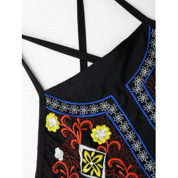 Lace Up Embroidered Plus Size Swimsuit - XL XL