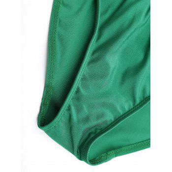 Lace Up Embroidered Plus Size Swimsuit - GREEN 4XL