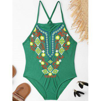 Lace Up Embroidered Plus Size Swimsuit - GREEN 3XL