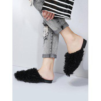 Faux Fur Flat Heel Slippers - BLACK BLACK