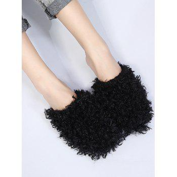 Faux Fur Flat Heel Slippers - BLACK 40