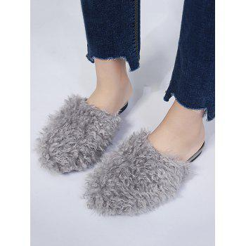 Faux Fur Flat Heel Slippers - GRAY GRAY