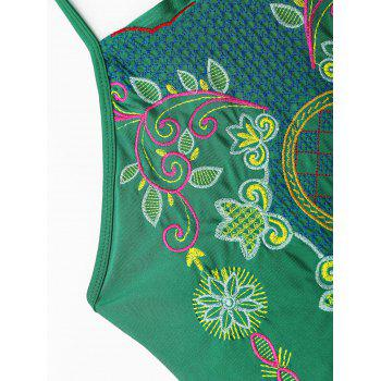 Lace Up Embroiered Plus Size Swimsuit - GREEN 4XL