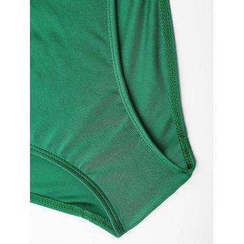 Lace Up Embroiered Plus Size Swimsuit - GREEN 3XL