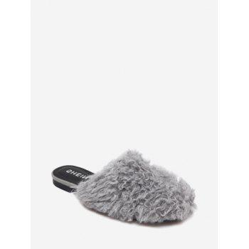 Faux Fur Flat Heel Slippers - GRAY 37