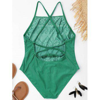 Lace Up Embroiered Plus Size Swimsuit - GREEN GREEN