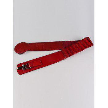 Faux Leather Large Metal Clasp Wide Belt -  WINE RED