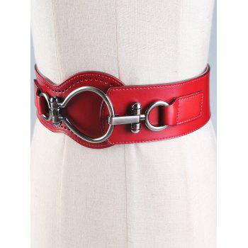 Faux Leather Large Metal Clasp Wide Belt - WINE RED WINE RED