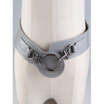 Faux Leather Large Metal Clasp Wide Belt - GRAY GRAY