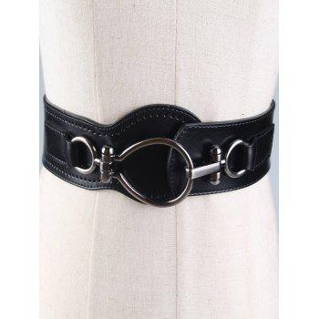 Faux Leather Large Metal Clasp Wide Belt - BLACK BLACK