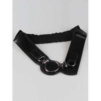 Faux Leather Large Metal Clasp Wide Belt -  BLACK