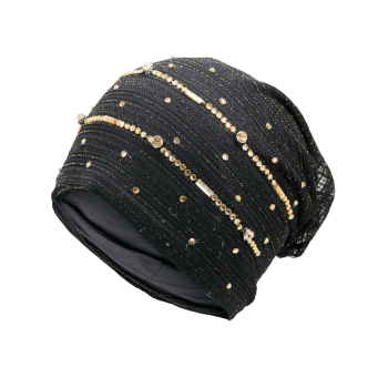 Rhinestone Decorated Lurex Lace Hat -  BLACK