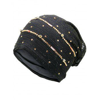 Rhinestone Decorated Lurex Lace Hat - BLACK BLACK