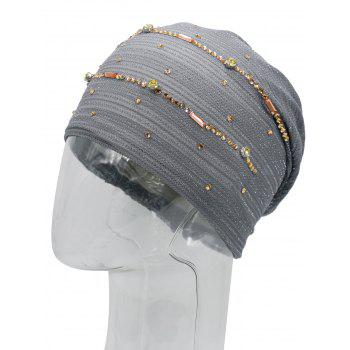 Rhinestone Decorated Lurex Lace Hat -  GRAY