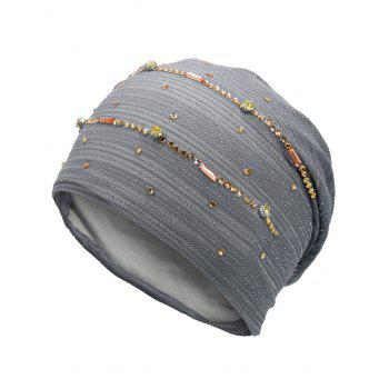 Rhinestone Decorated Lurex Lace Hat - GRAY GRAY