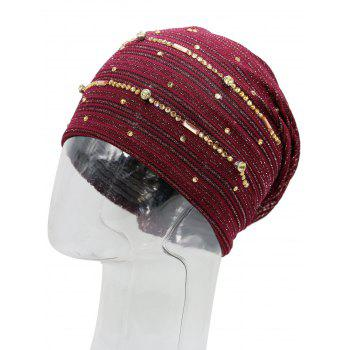 Rhinestone Decorated Lurex Lace Hat - WINE RED