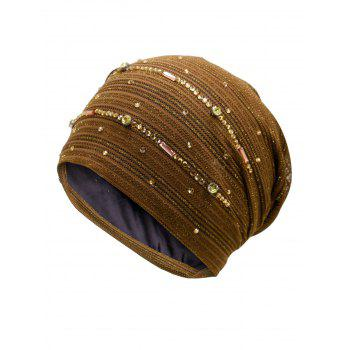 Rhinestone Decorated Lurex Lace Hat - COFFEE COFFEE