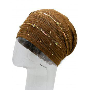 Rhinestone Decorated Lurex Lace Hat -  COFFEE