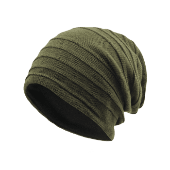 Plain Stripy Knit Hat - ARMY GREEN