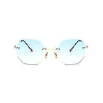 Ombre Lens Round Hexagons Rimless Sunglasses - LIGHT BLUE