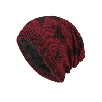 Oudoor Stars Pattern Embroidery Flocking Kint Beanie - WINE RED