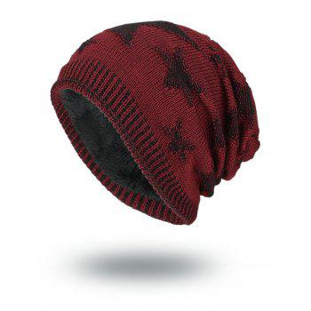 Oudoor Stars Pattern Embroidery Flocking Kint Beanie - WINE RED WINE RED
