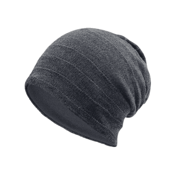Plain Stripy Knit Hat -  DEEP GRAY