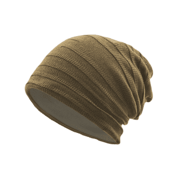 Plain Stripy Knit Hat -  DARK KHAKI