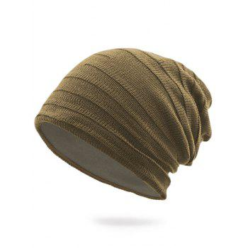 Plain Stripy Knit Hat - DARK KHAKI DARK KHAKI