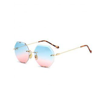 Ombre Lens Round Hexagons Rimless Sunglasses - BLUE AND PINK BLUE/PINK