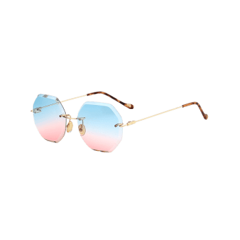 Ombre Lens Round Hexagons Rimless Sunglasses - BLUE/PINK