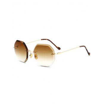Ombre Lens Round Hexagons Rimless Sunglasses - TEA-COLORED TEA COLORED