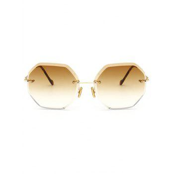 Ombre Lens Round Hexagons Rimless Sunglasses - TEA COLORED