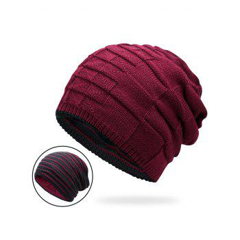 Reversible Color Block Knit Hat - WINE RED WINE RED
