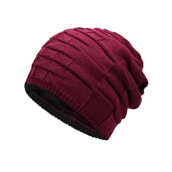 Reversible Color Block Knit Hat - WINE RED