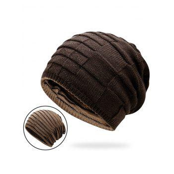 Reversible Color Block Knit Hat - COFFEE COFFEE
