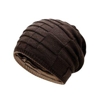 Reversible Color Block Knit Hat -  COFFEE
