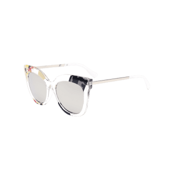 Color Pieces Design Butterfly Sunglasses -  SILVER