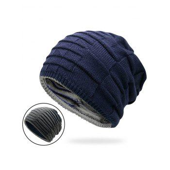 Reversible Color Block Knit Hat - DEEP BLUE DEEP BLUE