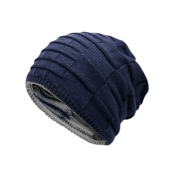 Reversible Color Block Knit Hat -  DEEP BLUE