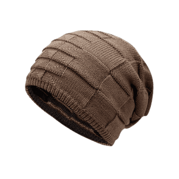 Reversible Color Block Knit Hat -  DARK KHAKI