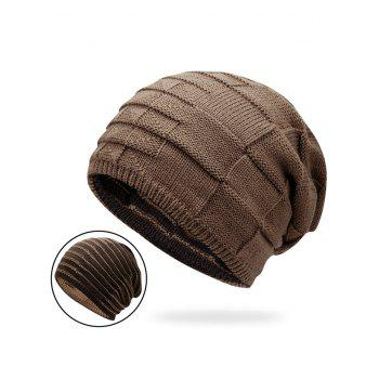 Reversible Color Block Knit Hat - DARK KHAKI DARK KHAKI