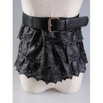 Pin Buckle Cut Out Peplum Belt - BLACK BLACK