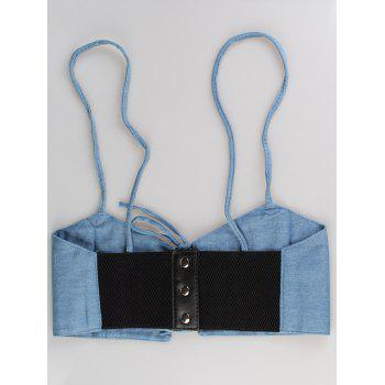 Lace Up Spaghetti Strap High Waist Belt -  DENIM BLUE
