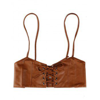 Lace Up Spaghetti Strap High Waist Belt - BROWN BROWN