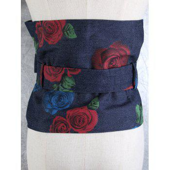 Rose Printed Large Corset Belt with Tail - PURPLE VIOLET